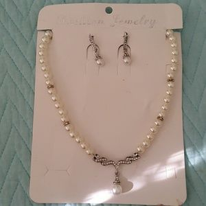 Jewelry - pearl necklace and earring set